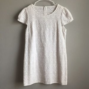 Tibi New York cap sleeve embroidered shift dress.
